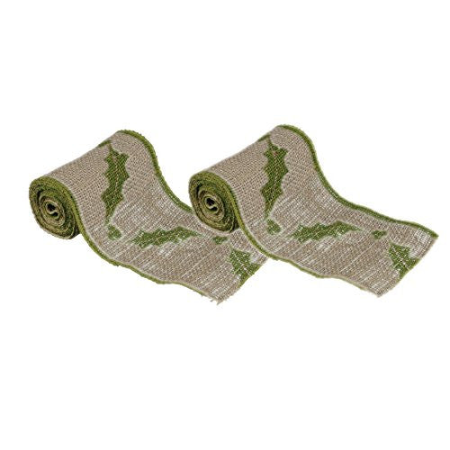 Vintage Holly Leaf Burlap Ribbon - 6-in x 10-ft - 2 Pack - Mellow Monkey