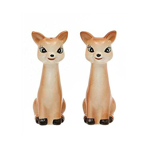 Cottage Christmas Ceramic Vintage Reproduction of Deer Salt & Pepper Shakers, Set of 2 - 4-in - Mellow Monkey