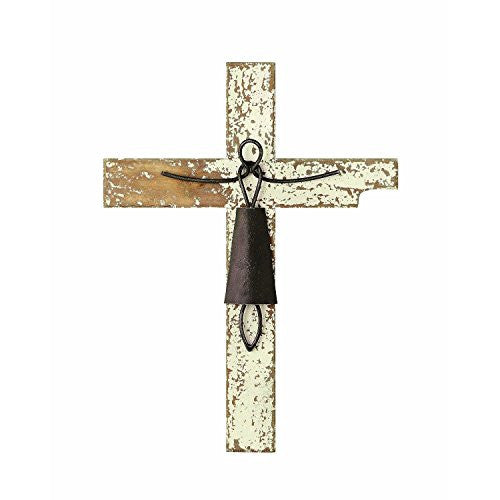 Creative Co-Op Distressed White Wood and Metal Wall Cross - Mellow Monkey