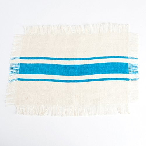 Striped Fringed Jute Placemat Set of 4 (Turqouise) - Mellow Monkey