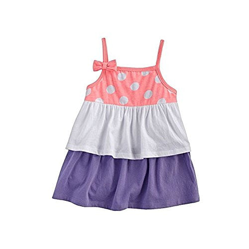 Beach Baby Polka Dot Tiered Baby Doll Tank for Toddlers Girls (4T, Coral Dots) - Mellow Monkey
