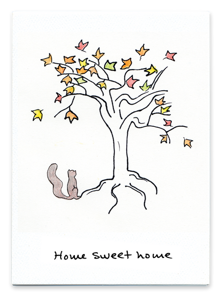 Home Sweet Home - Squirrel and Tree - Greeting Card