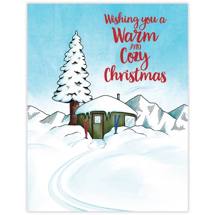 Wishing You A Warm and Cozy Christmas - Holiday Greeting Card with Red Face Mask