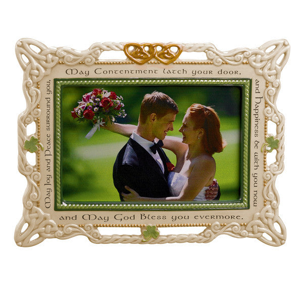 Celtic Knot Ceramic Wedding Day Photo Frame for 4x6 Photo - Mellow Monkey