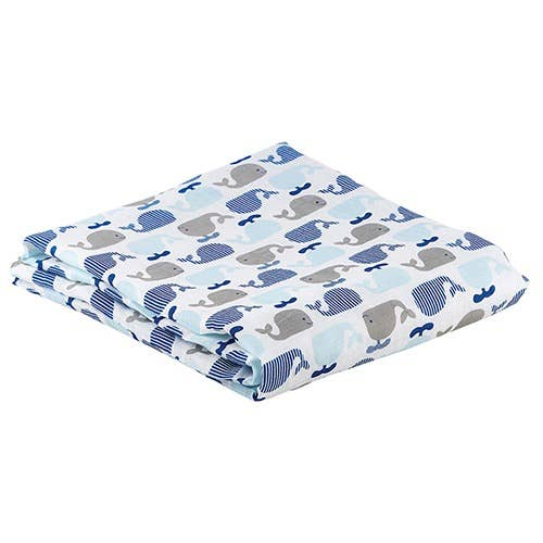 Staphan Baby Snugglie Soft Bamboo Cotton Swaddle Blanket - Whales - 45-in