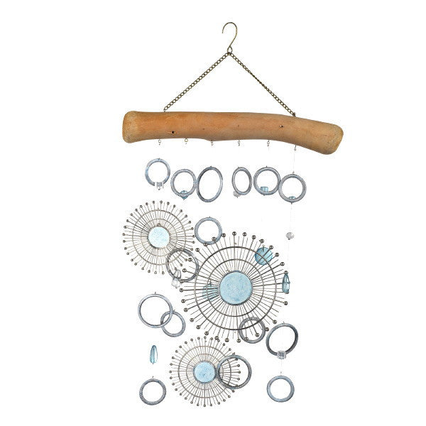 Hanging Sun Mobile Wind Chime of Metal, Glass and Driftwood 20-in