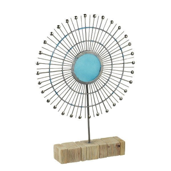 Metal Tabletop Radiant Sun Sculpture with Turquoise Glass - Mellow Monkey