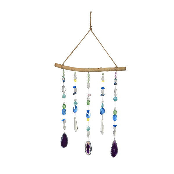 Hanging Elements Mobile Wind Chime Glass and Minerals 21-in