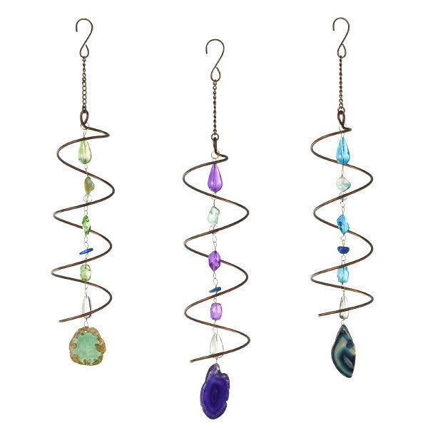 Hanging Elements Spiral Mobile Glass Metal and Mineral 15-1/4-in