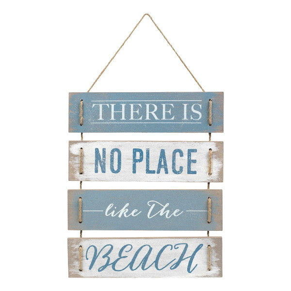 There Is No Place Like The Beach - Plank Board Hanging Sign - 14-3/8-in