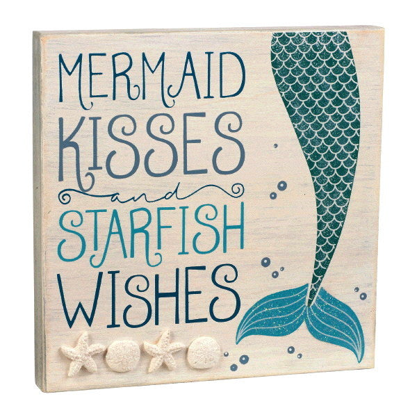 Mermaid Kisses and Starfish Wishes Wall Plaque - 8-in
