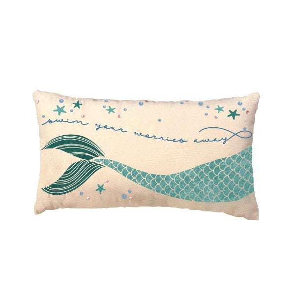 Swim Your Worries Away with Mermaid Tail Decorative Throw Pillow 18-in