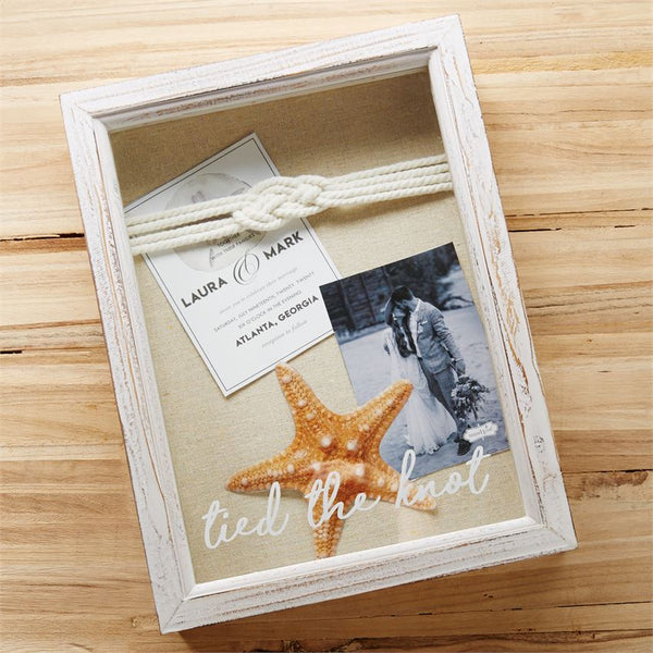 Tied The Knot Whitewash Keepsake Shadow Box - 12-in