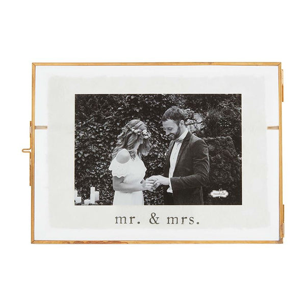 Mr. and Mrs. Glass and Metal Wedding Frame - 9-in (holds 4x6-in photo)