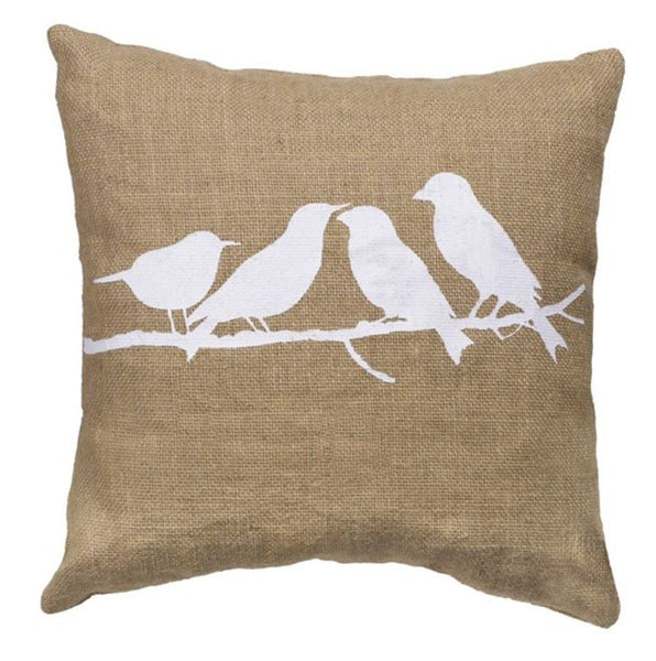 Birds On A Branch - Burlap Accent Throw Pillow Set (14x14 square and 10x6 oblong) - Mellow Monkey  - 2