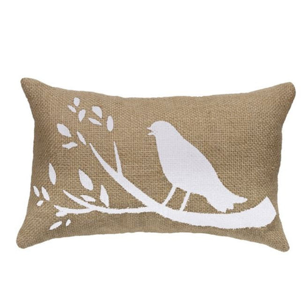 Birds On A Branch - Burlap Accent Throw Pillow Set (14x14 square and 10x6 oblong) - Mellow Monkey  - 3