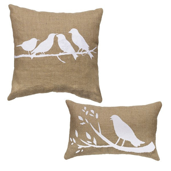 Birds On A Branch - Burlap Accent Throw Pillow Set (14x14 square and 10x6 oblong) - Mellow Monkey  - 1