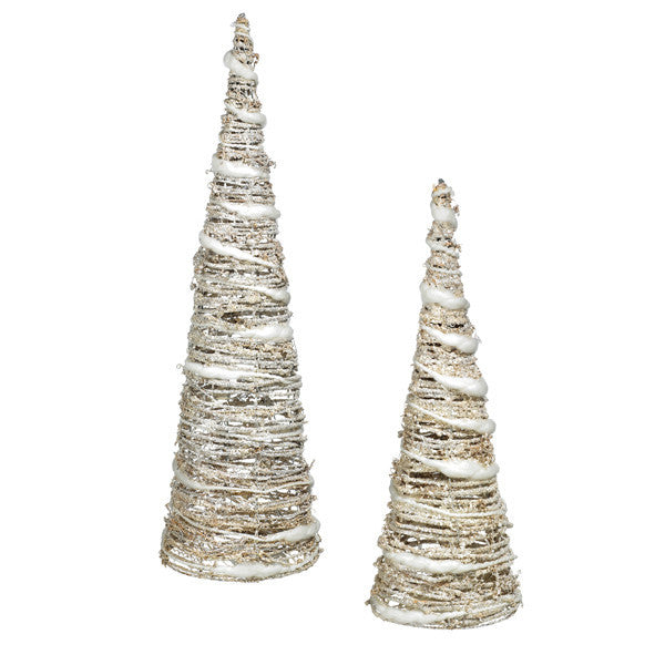Glitter Spun Silver Light-Up Holiday Christmas Tree Figurines - Set of 2 - Mellow Monkey