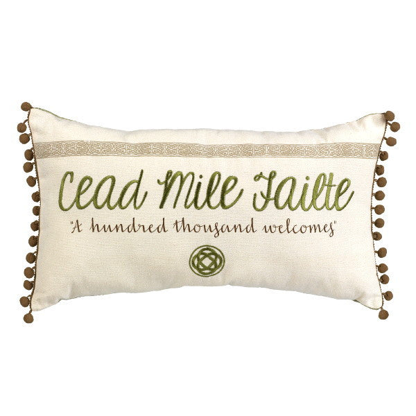 "Celtic Traditions ""Cead Mile Failte"" Lumbar Decorative Pillow 18-in - Mellow Monkey"