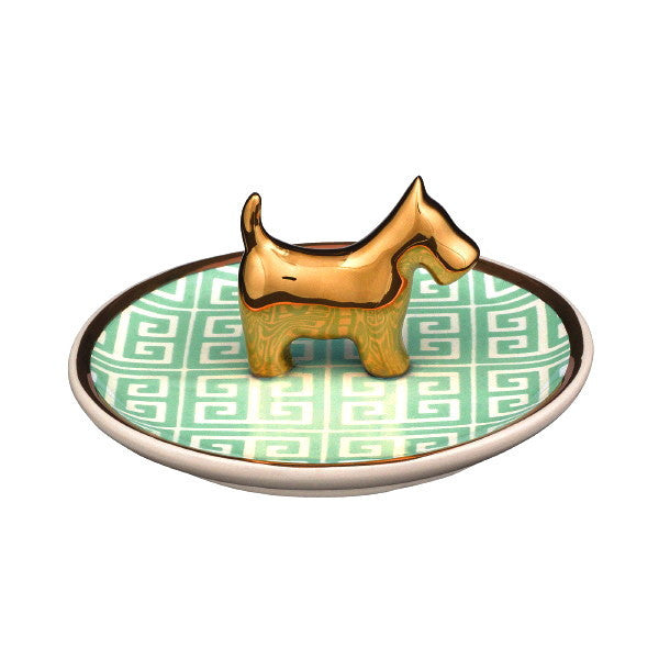 Ceramic Terrier Dog Ring Dish Jewelry Holder 4-in