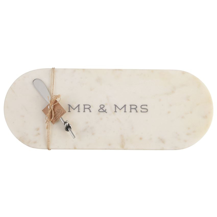 Mr. & Mrs. Marble Board Tray with Knot Spreader