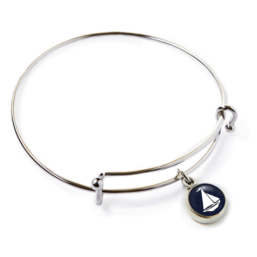 Chart Metalworks - Navy Sailboat Pewter Mini Expandable Bangle