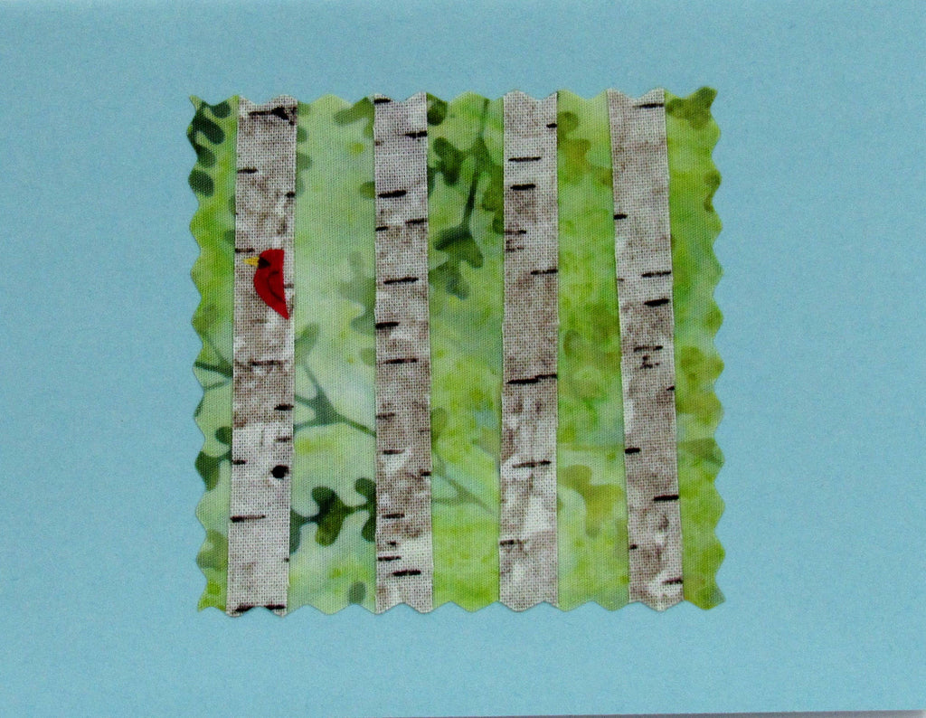 Birches Card - Hand Made Fabric and Paper Greeting Card