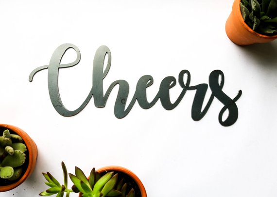 Iron Maid Art - Cheers Metal Word Sign