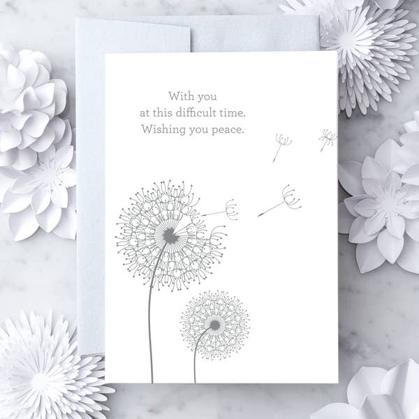 With You At This Difficult Time.  Wishing You Peace - Sympathy Greeting Card