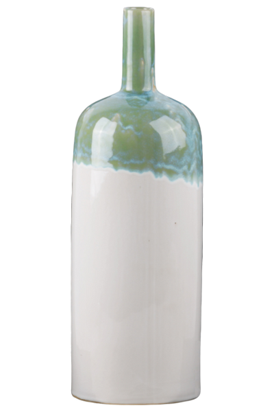 Ceramic Tall Round Bottle Vase with Verdigris Glaze and Gloss White Finish - 16-in