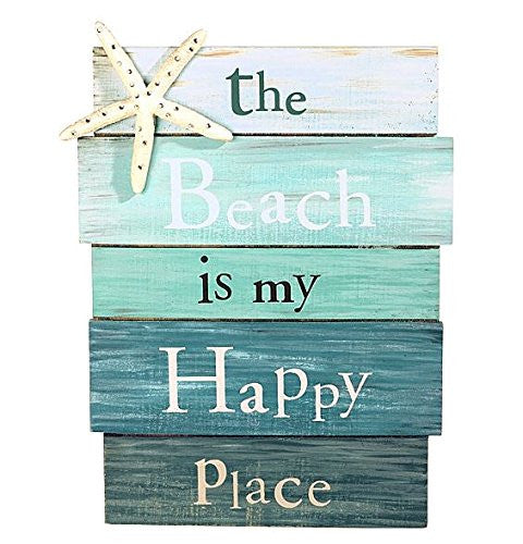Beach is My Happy Place - Aqua Plankboard with Starfish Decorative Sign - 12-in - Mellow Monkey