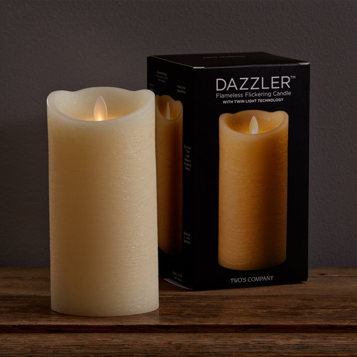 Dazzler Unscented Wax Based Flickering Wick Candle 7 x 3-1/2 in