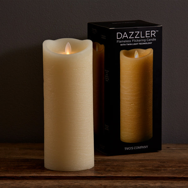 Dazzler Unscented Wax Based Flickering Wick Candle 9 x 3-1/2 in