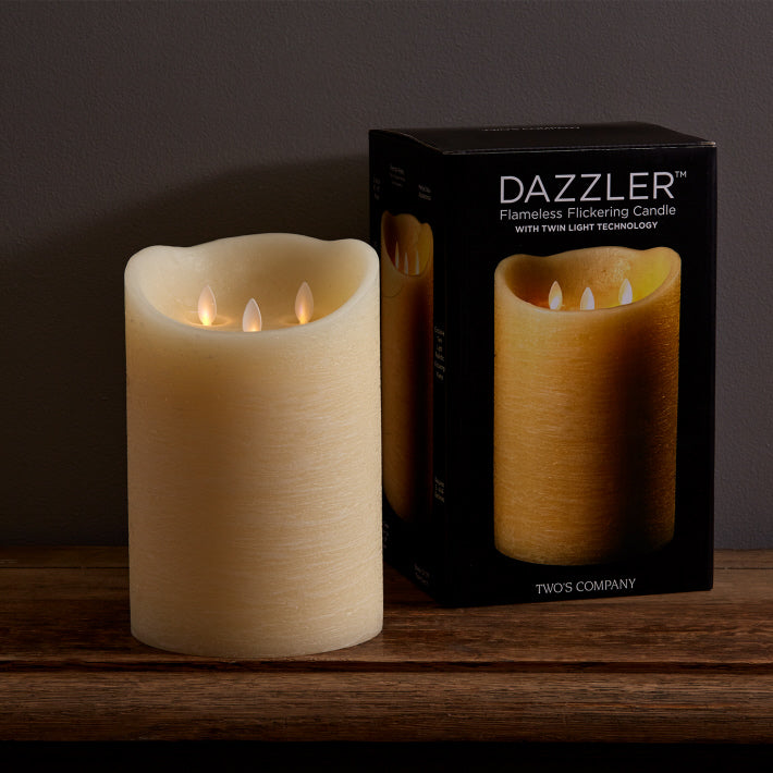 Dazzler Unscented Wax Based Flickering 3 Wick Candle 9 x 6 with Remote