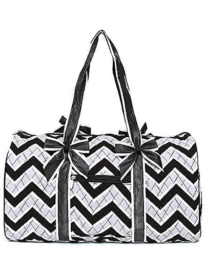 Belvah Black & White Chevron Quilted Cotton Duffle Bag - 20.5-in - Mellow Monkey
