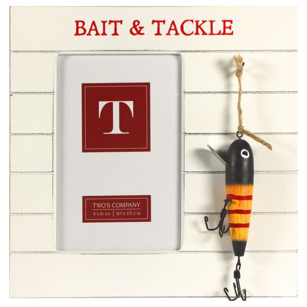 Bait and Tackle Fishing Photo Frame with Hanging Lures - for 4x6-in Photos (Bait & Tackle) - Mellow Monkey