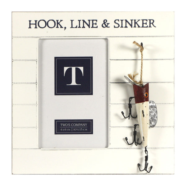 Bait and Tackle Fishing Photo Frame with Hanging Lures - for 4x6-in Photos (Hook Line & Sinker) - Mellow Monkey