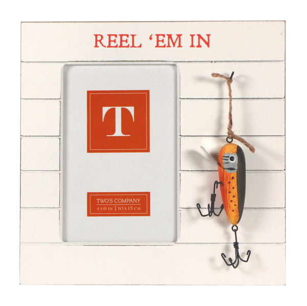Bait and Tackle Fishing Photo Frame with Hanging Lures - for 4x6-in Photos (Reel 'Em In) - Mellow Monkey