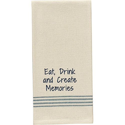 Eat, Drink and Create Memories - Cotton Kitchen Dish Towel with French Stripes - Mellow Monkey