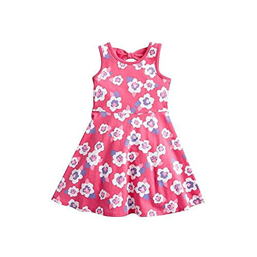 Pink Posies Floral Skater Dress for Girls Toddlers (3T) - Mellow Monkey