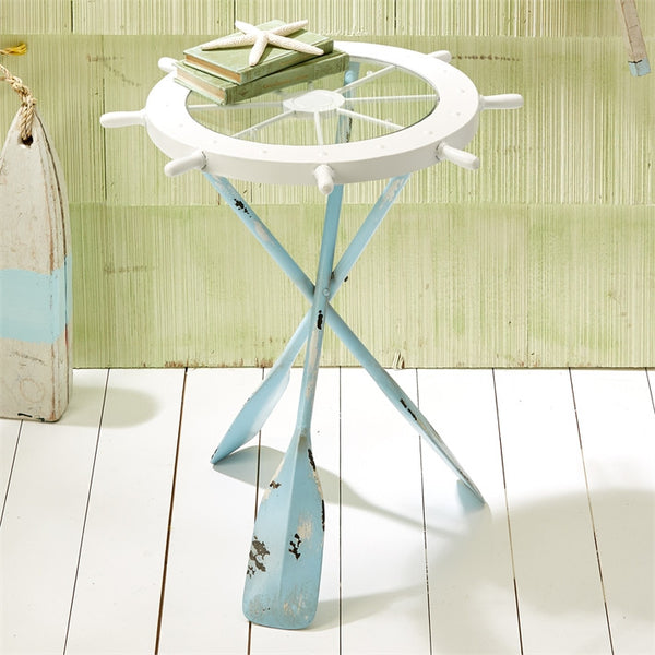Two's Company Ships Ahoy Accent Table with Oar Legs and Glass Wheel Tabletop - 24-in - Mellow Monkey