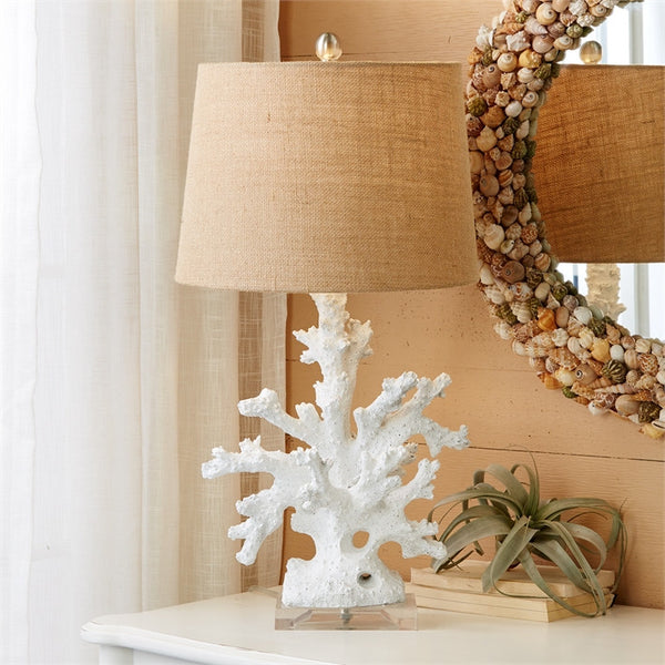 White Coral Table Lamps with Burlap Shade - Set of 2