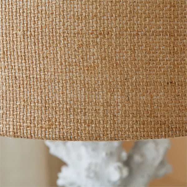 White Coral Table Lamps with Burlap Shade