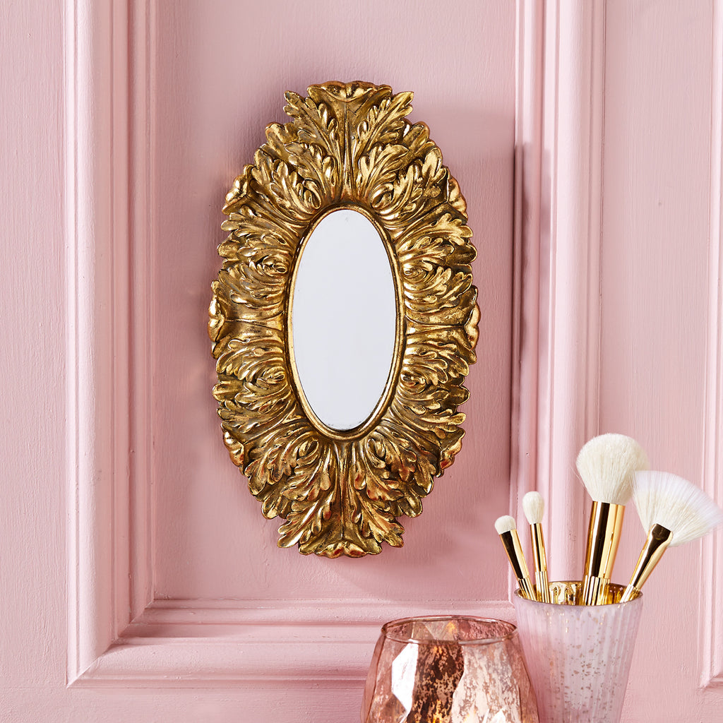 Regal Wall Hanging Mirror Antique Gold Finish 12-in