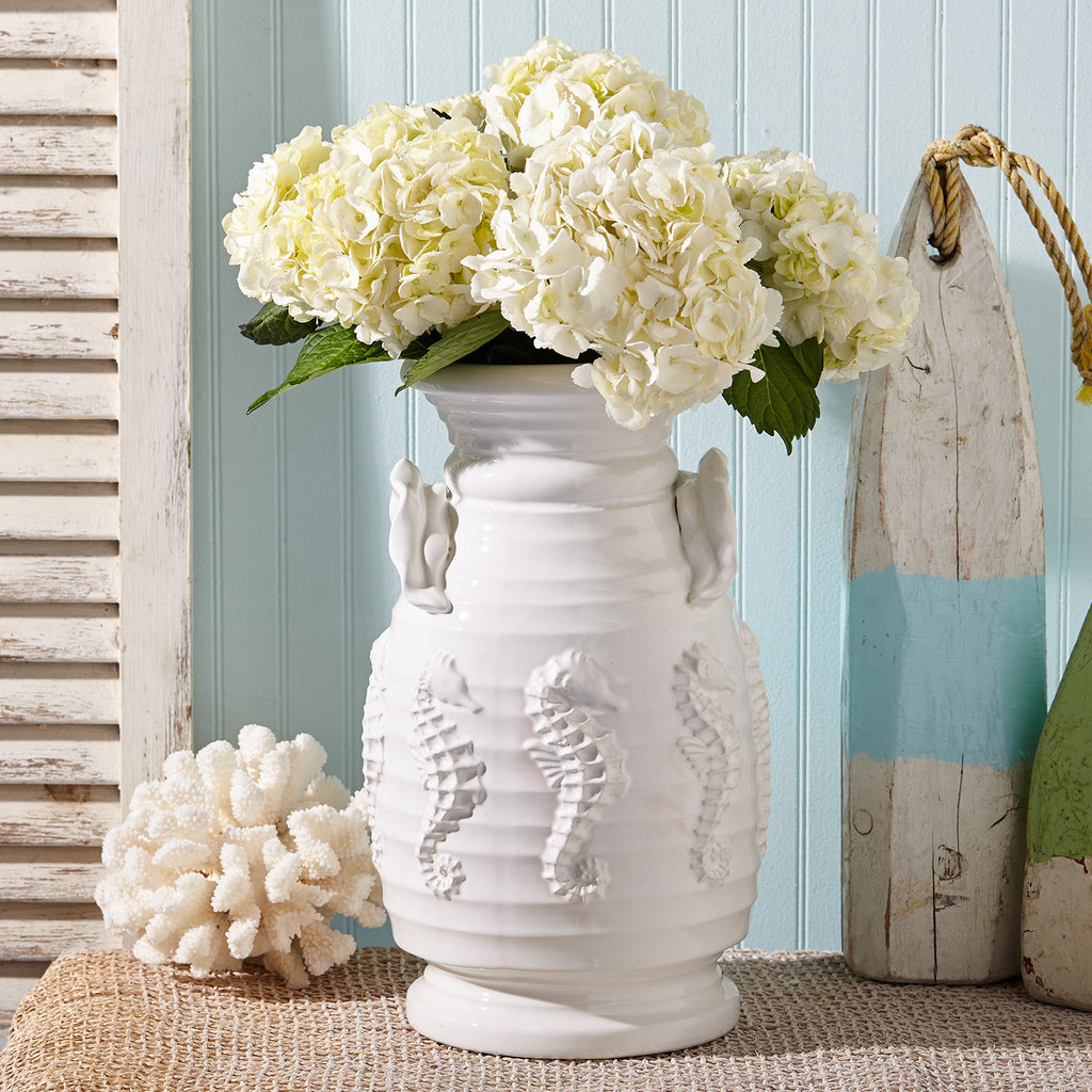 Pacifica Seahorse White Ceramic Vase 15-in