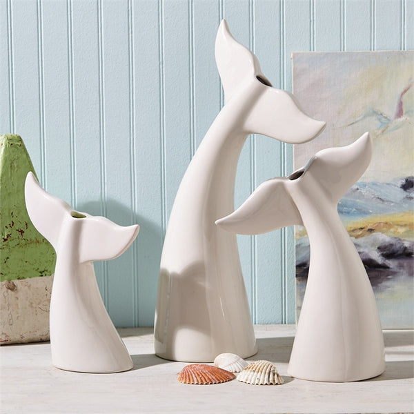 Once Upon A Whale Tail White Bud Vase