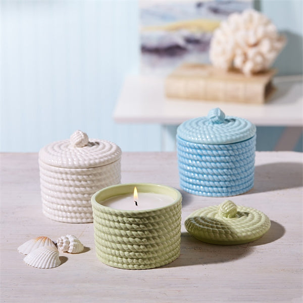 Sailor's Rope Filled Candle with Lid - Ocean Mist Fragrance