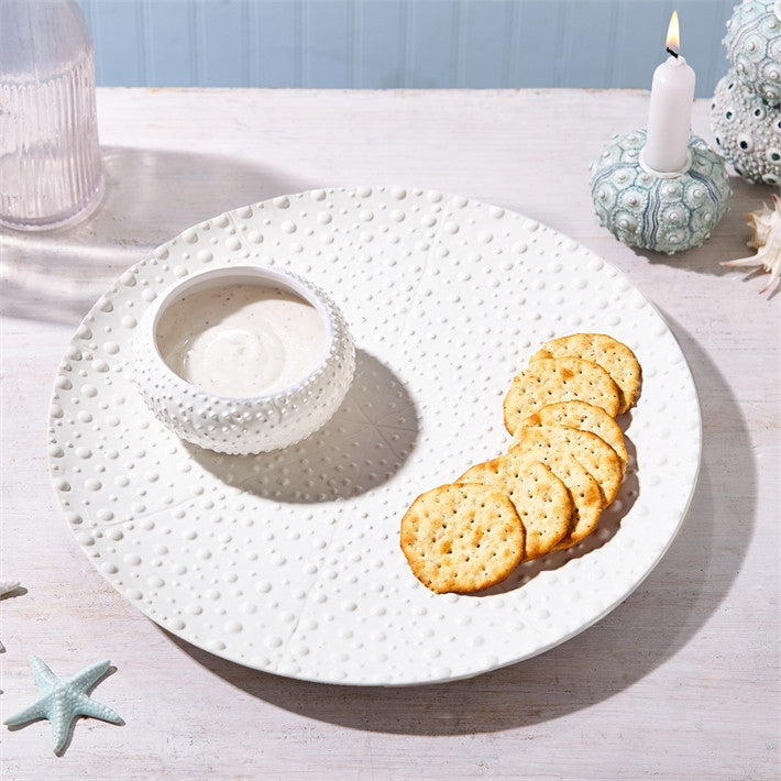 Sea Urchin Chip N' Dip Ceramic Plate and Bowl Set