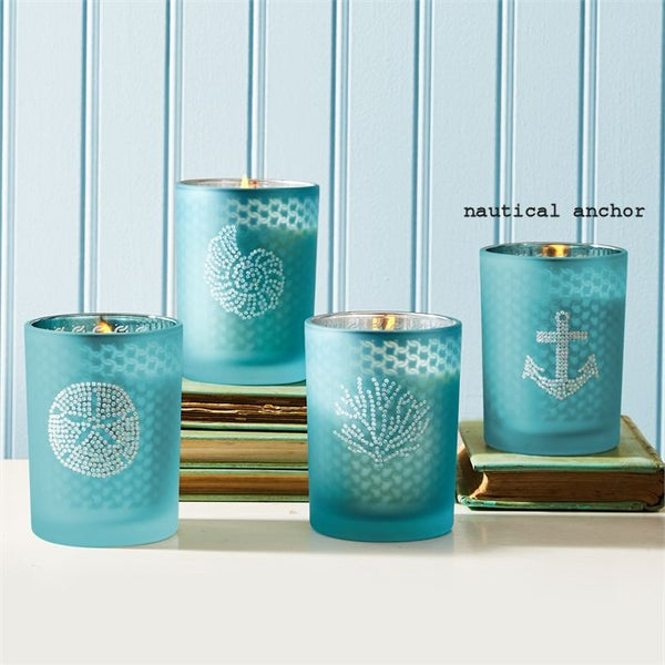 Seaside Filled Soy Candle with Rhinestones and Fresh Sea Breeze Scent