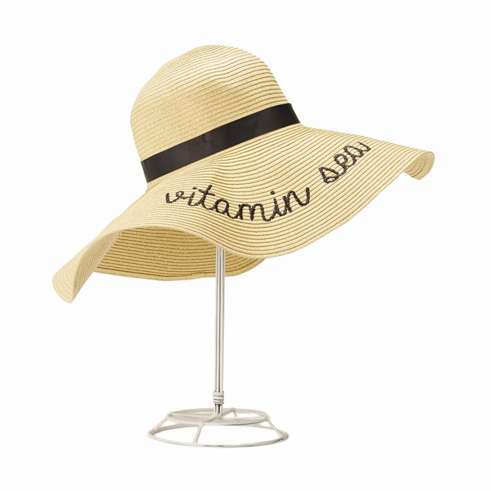 State of Mind Straw Sun Hat with a Statement - Black Embroidered - 16-3/4-in